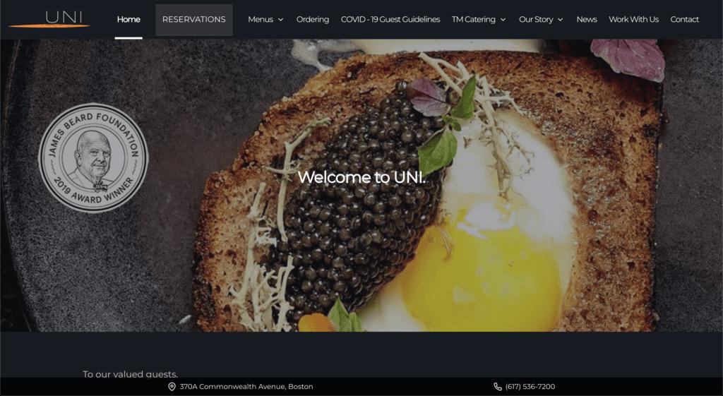 Uni Boston Restaurant Website Design