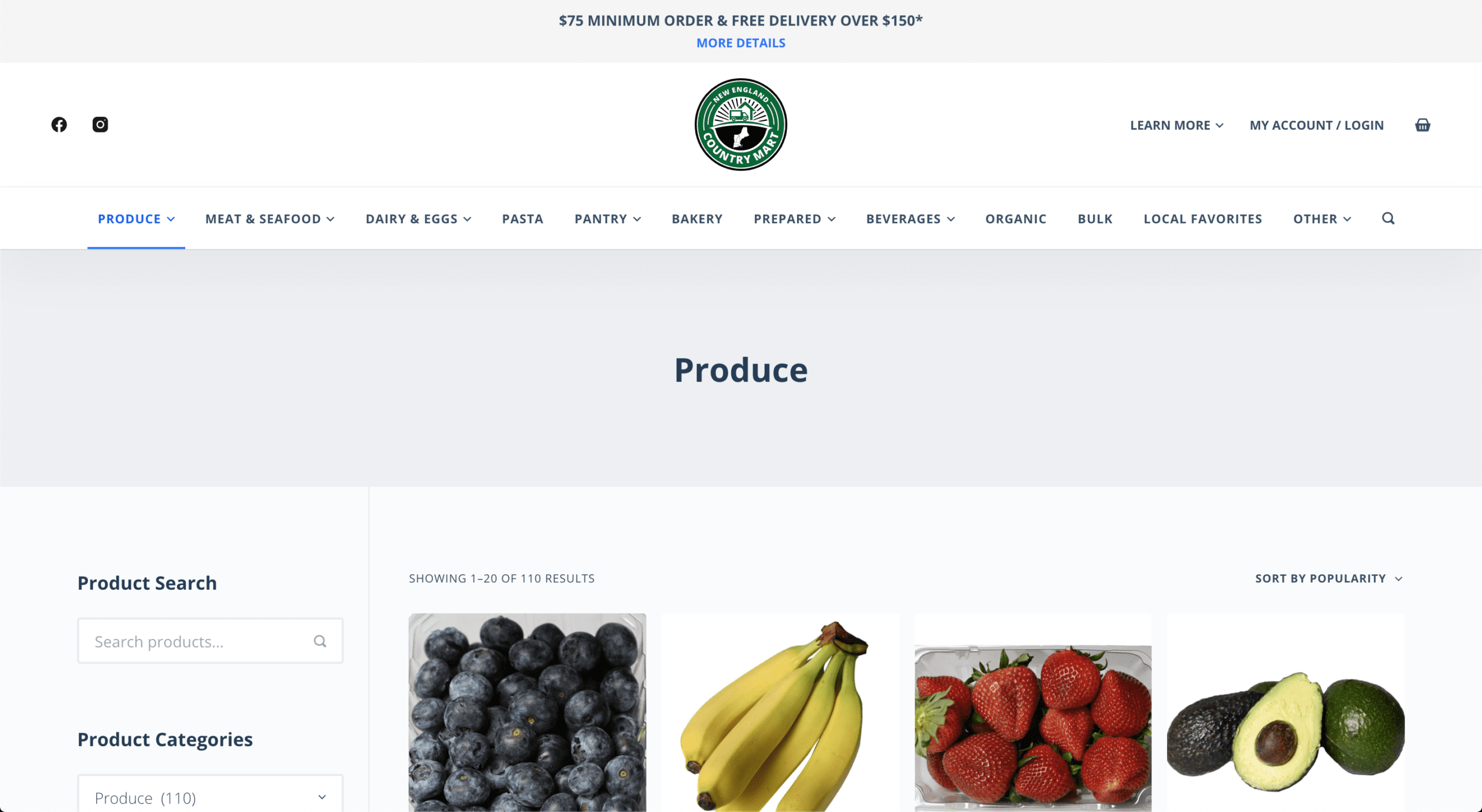 e-Commerce website design - New England Country Mart